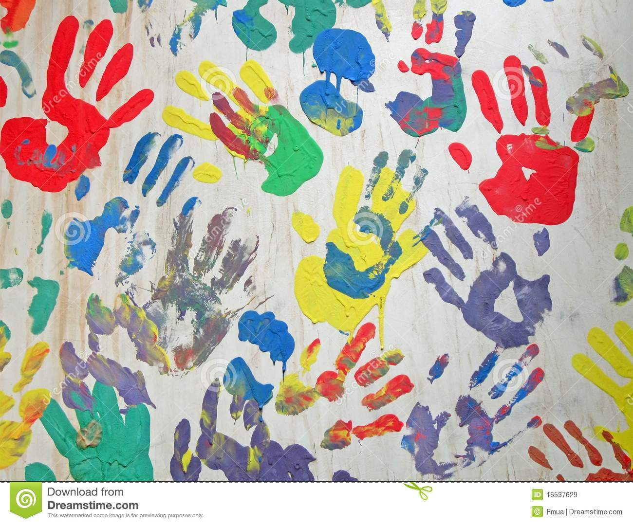 Color Handprint Diversity On Concrete White Wall Royalty
