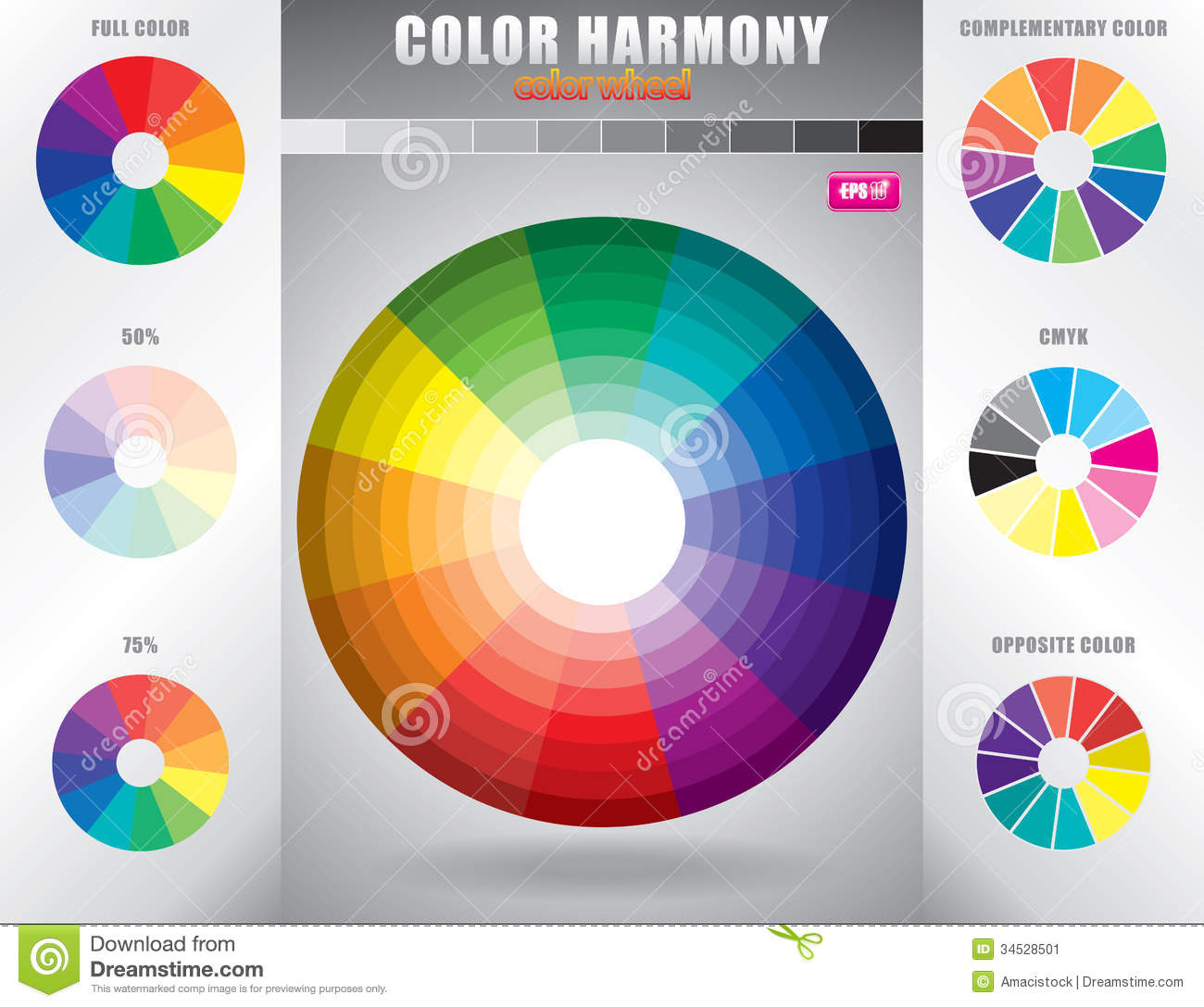 Color Harmony Color Wheel With Shade Of Colors Stock Vector