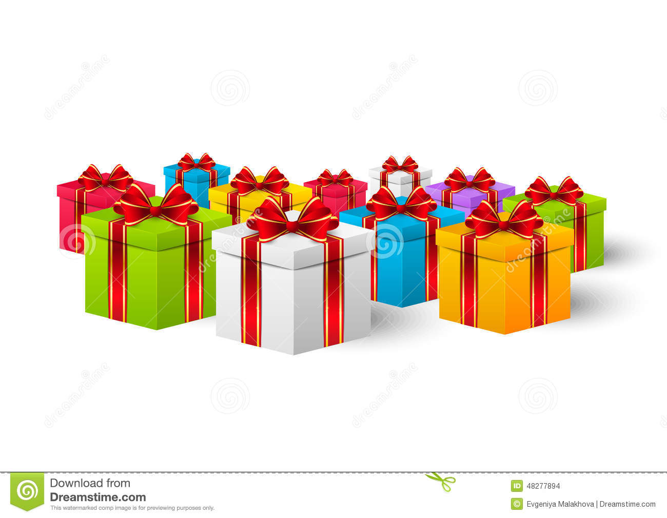 Color holiday gift boxes stock vector. Image of holiday - 48277894