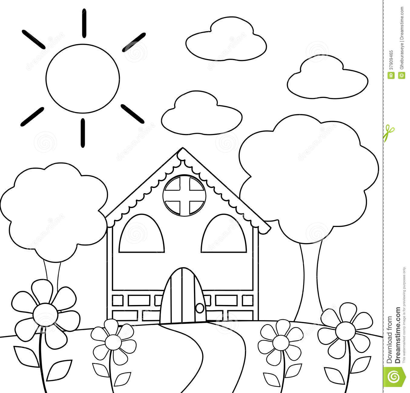Coloring The House In Black And White Stock Illustration ...
