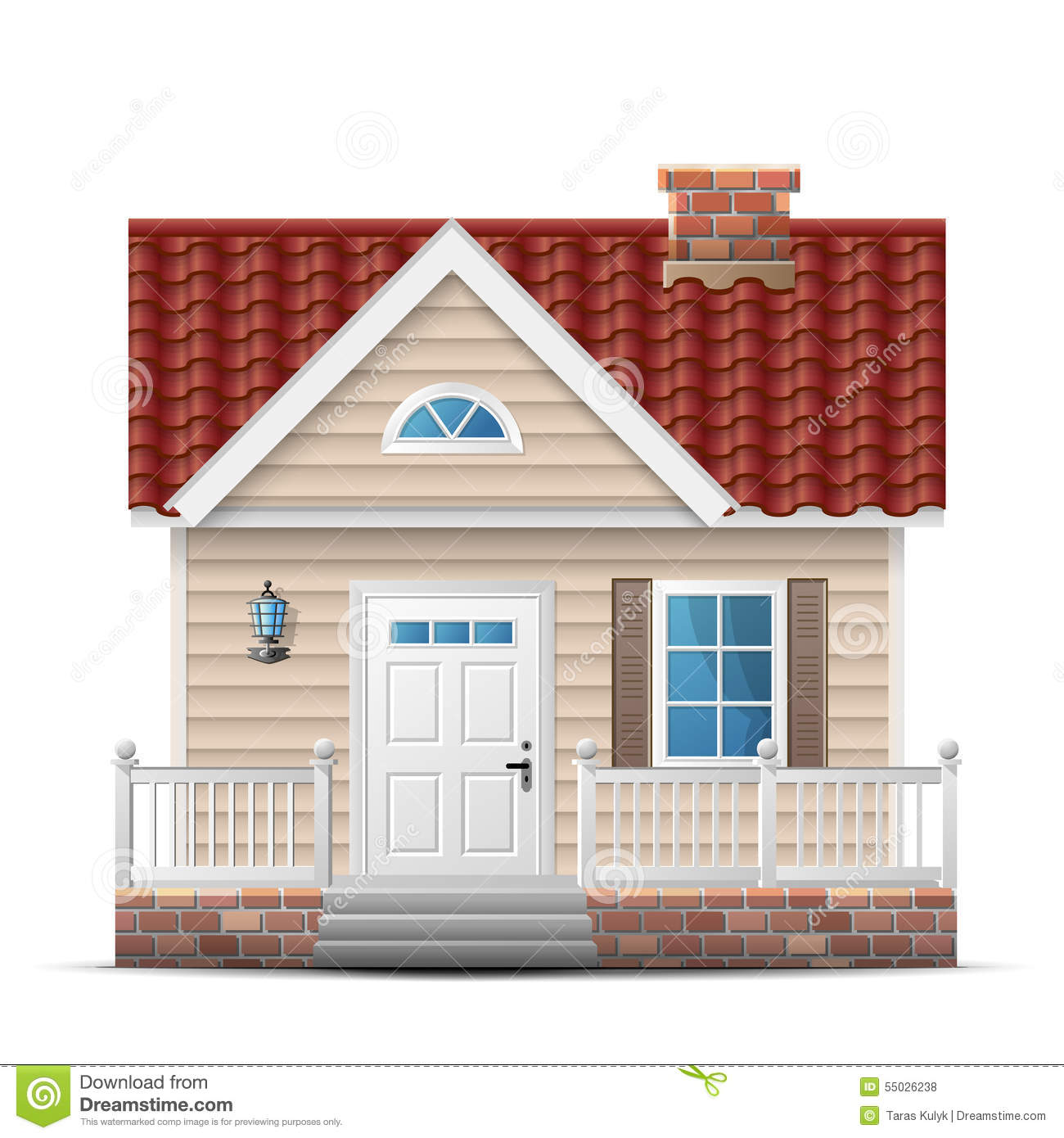 Color house with porch stock vector image 55026238 - Couleur facade maison contemporaine ...