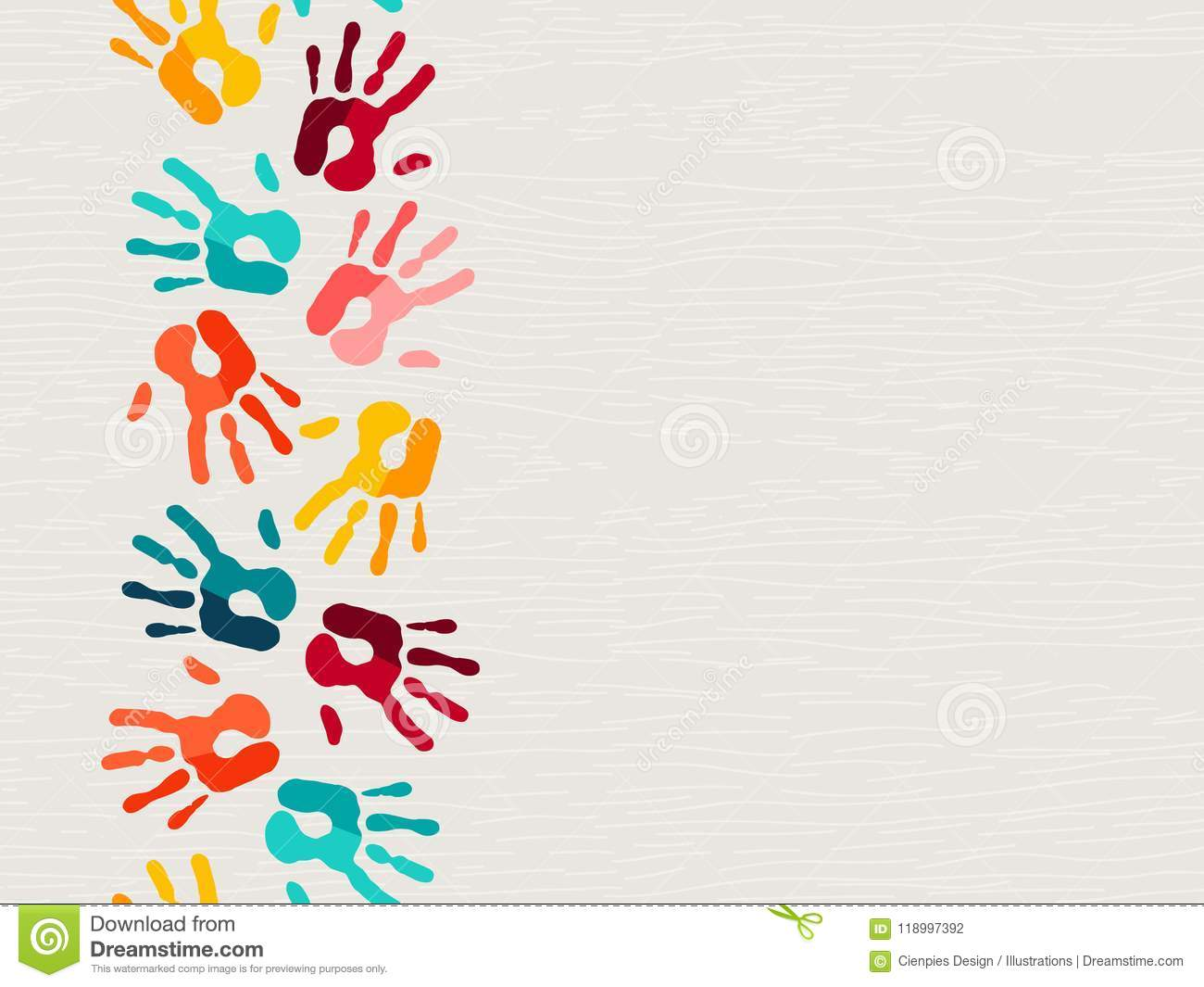 Color Human Hand Print Background Concept Stock Vector