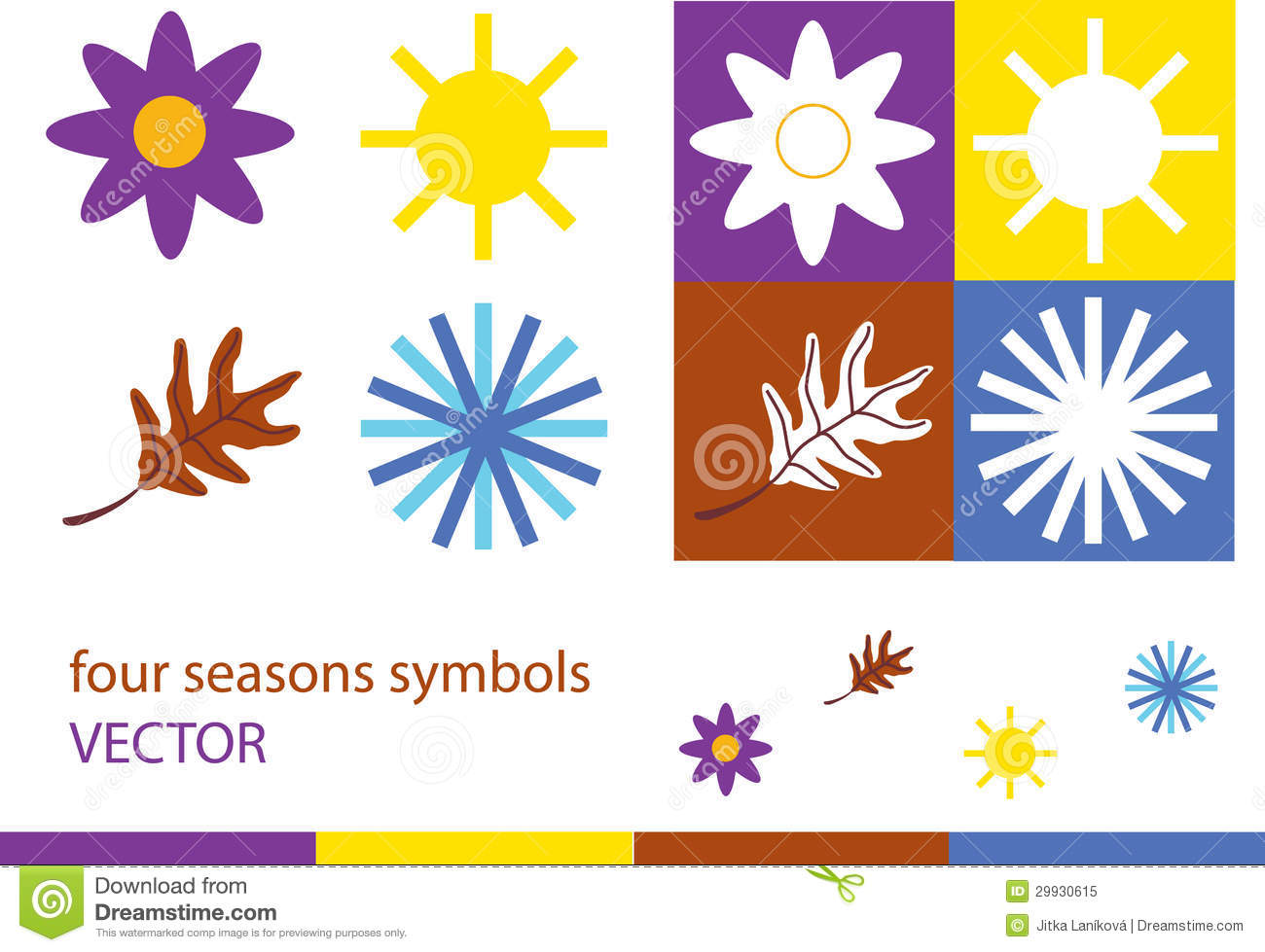 Set of four seasons symbols royalty free stock photo image 29930615 - Autumn plowing time all set for winter ...