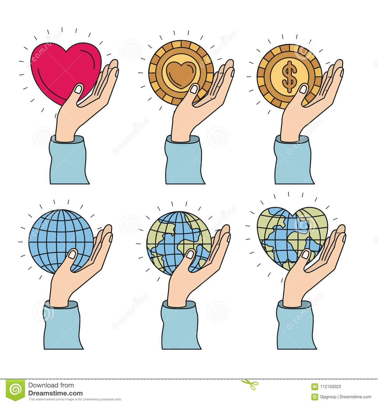 Color Image Set Hands Holding A Earth World And Coins With Heart