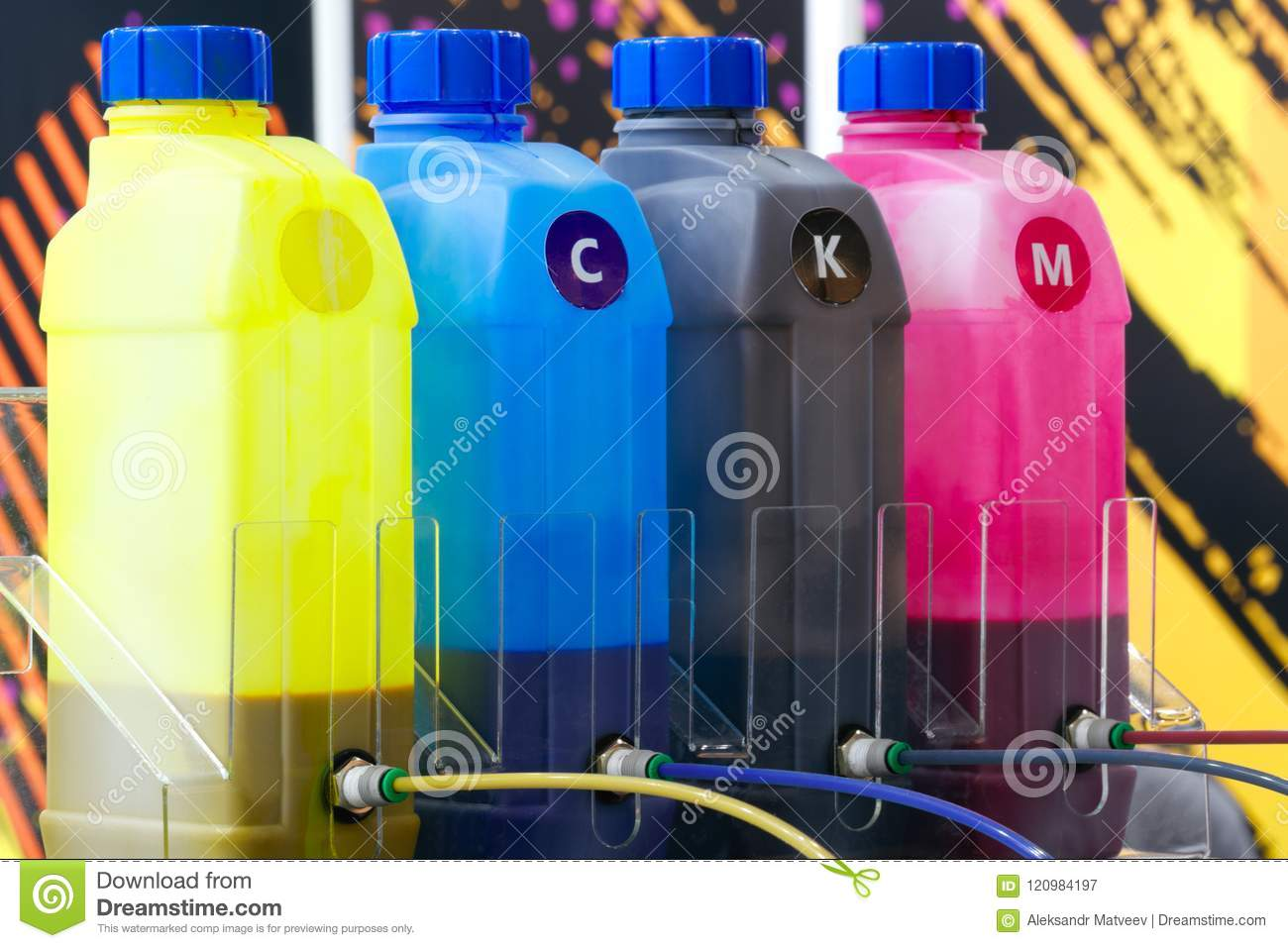 Color ink tank or large printer machine in factory for printing business