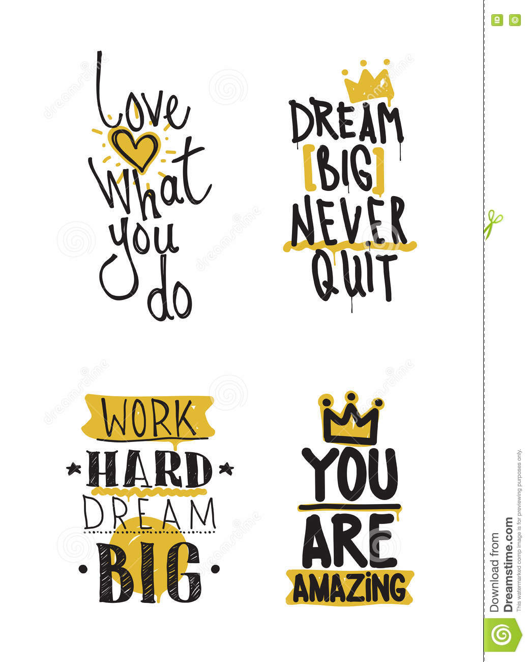 Color Inspirational Vector Illustration Set Motivational