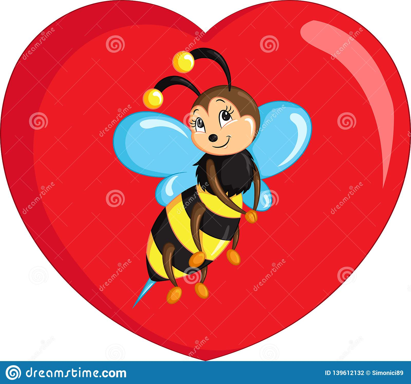 Color kawaii drawing of a little bee on a heart for children`s coloring book or Valentine`s Day card