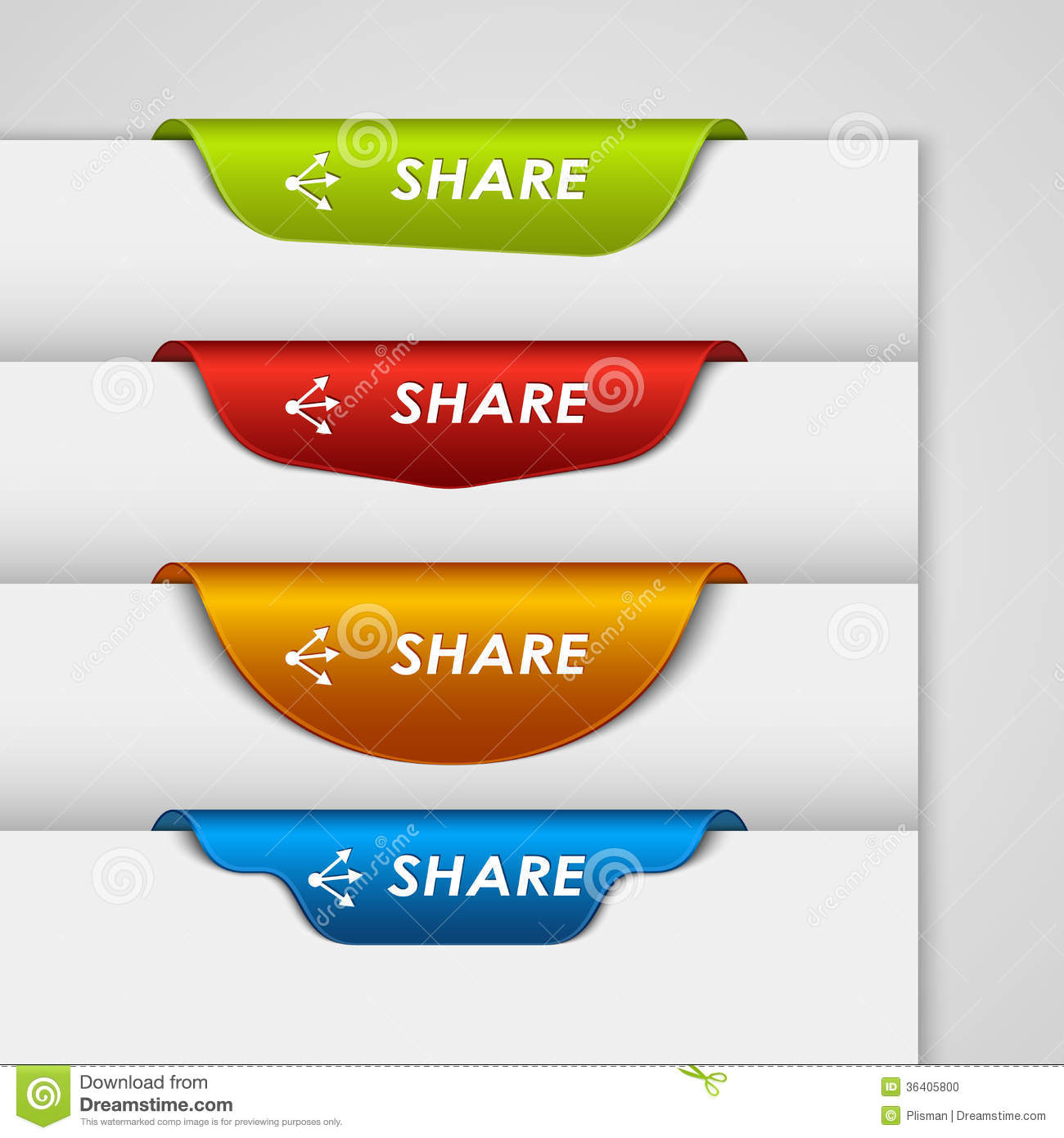 color label bookmark share on the edge of web page stock photo