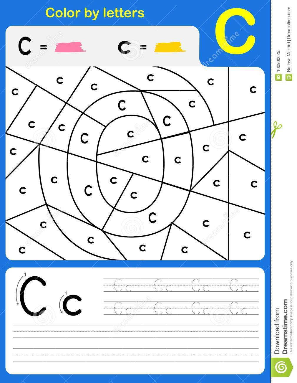 Color by letter alphabet worksheet - Color and Writing