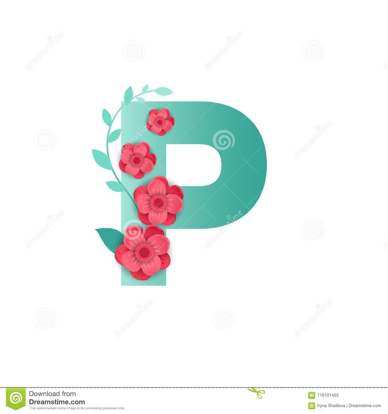 Color Letter P With Beautiful Flowers Stock Vector - Illustration