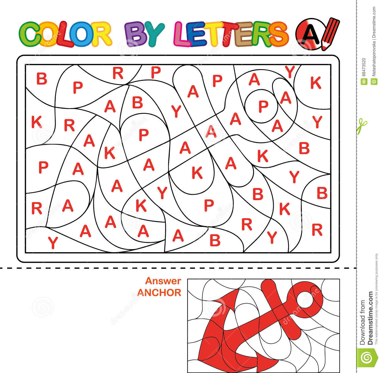 Color By Letter Puzzle For Children Anchor Stock Vector