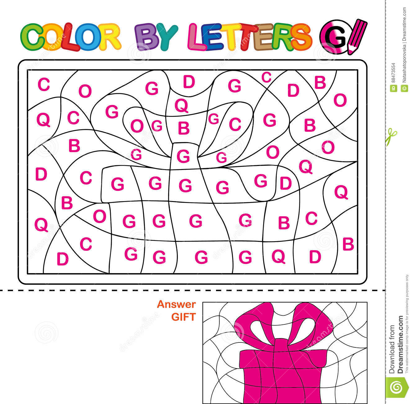 Download Color By Letter Puzzle For Children Gift Stock Vector