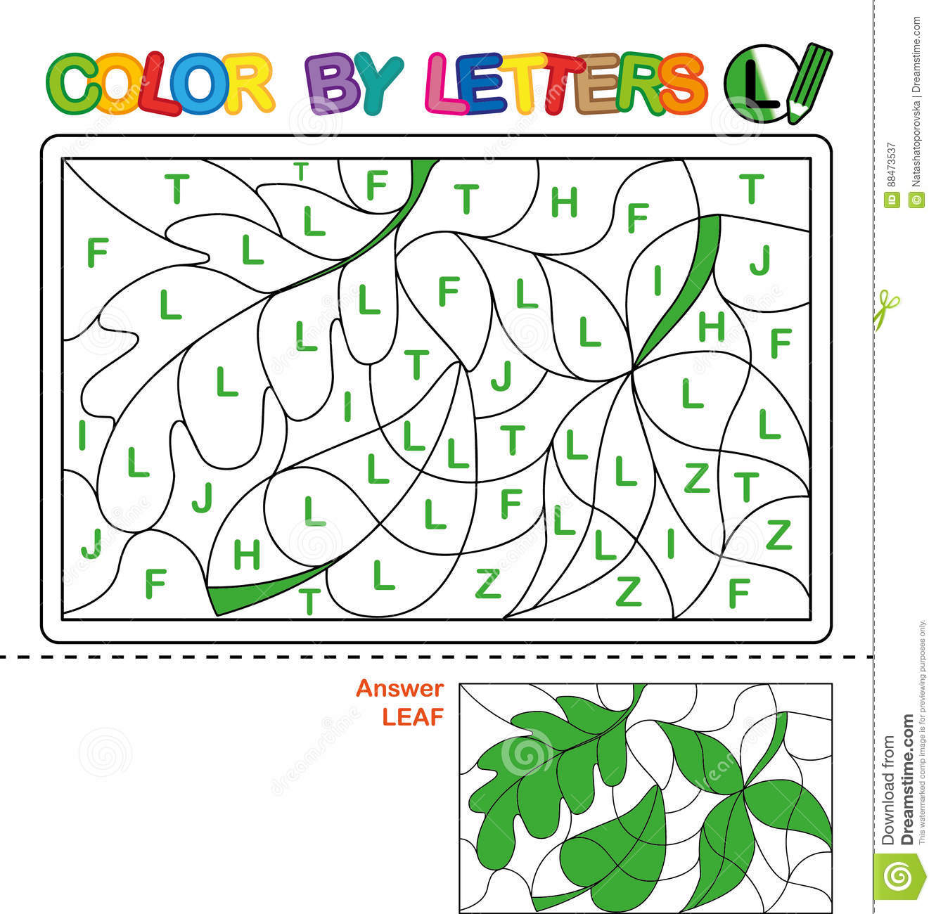 Color By Letter Puzzle For Children Leaf Cartoon Vector