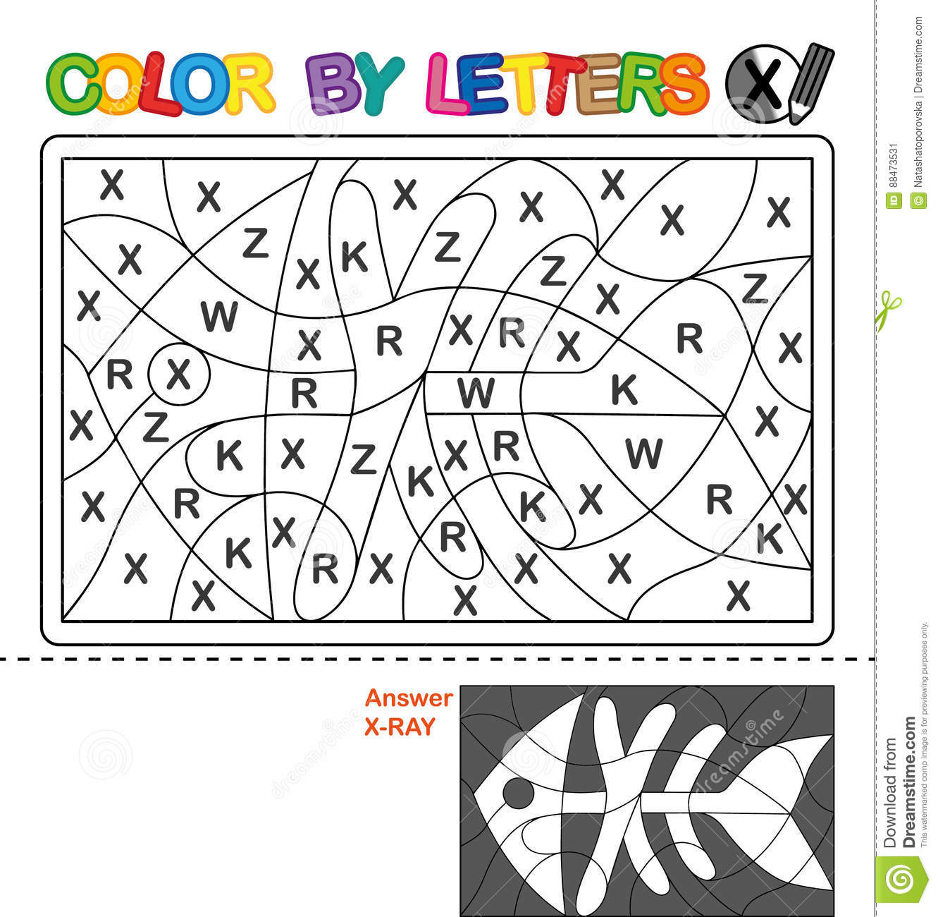 Download Color By Letter Puzzle For Children X Ray Stock Vector