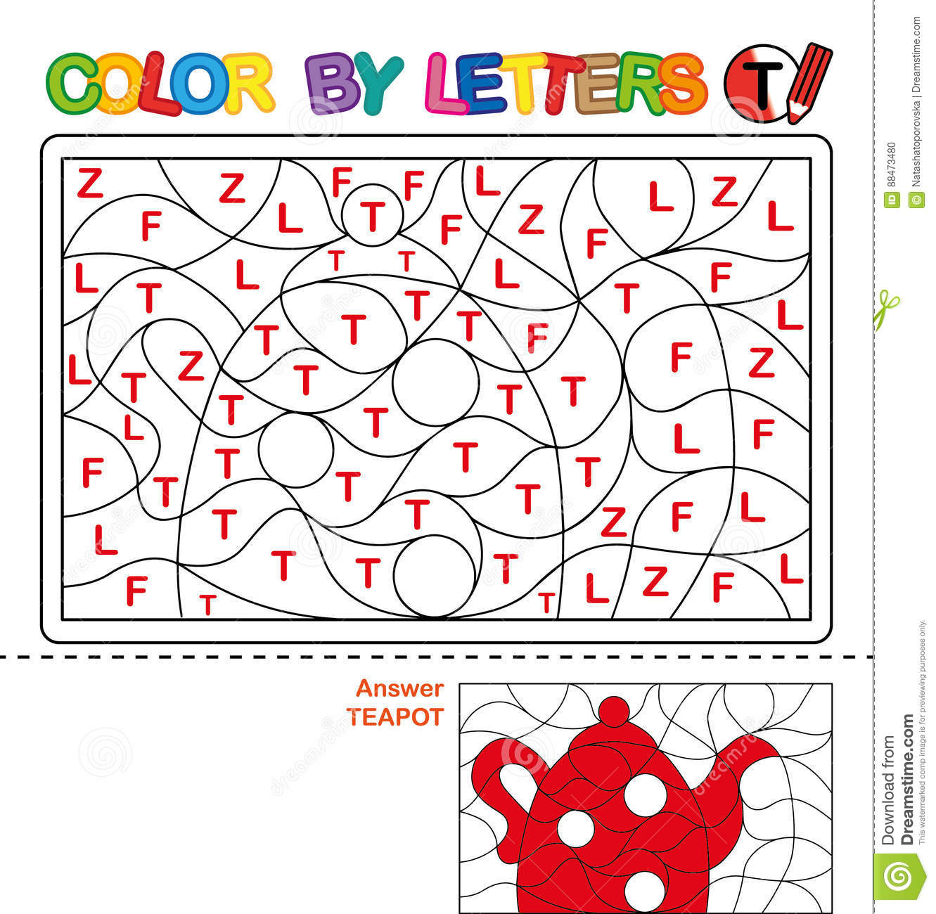 Download Color By Letter Puzzle For Children Teapot Stock Vector