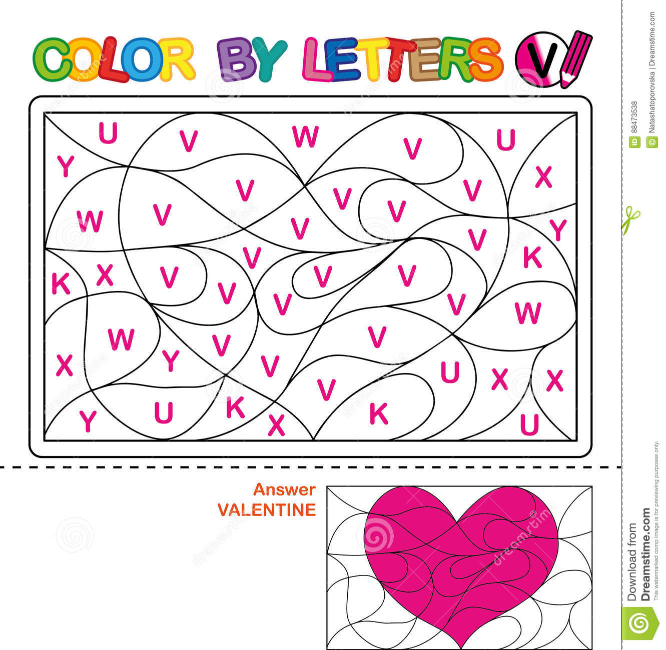 Color By Letter Puzzle For Children Valentine Download Preview