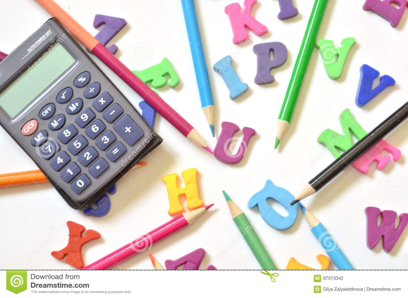Download Color Letters Of The English Alphabet Colored Pencils Calculator Top View