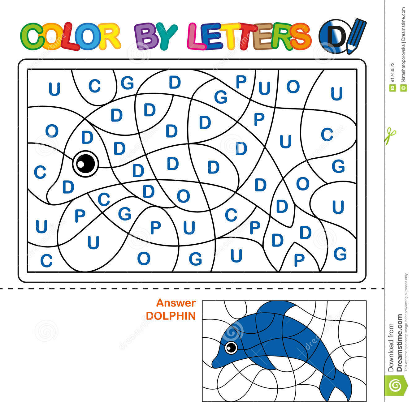Color by letters. Learning the capital letters of the alphabet. Puzzle for children. Letter D. Dolphin. Preschool Education.