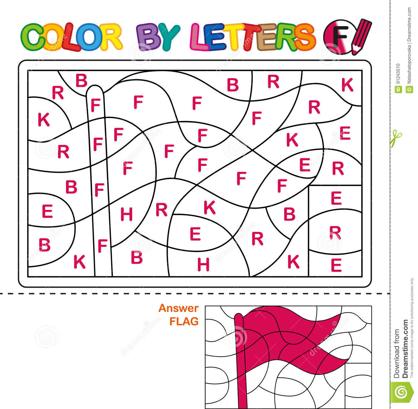 1eca3a7df65be Color by letters. Learning the capital letters of the alphabet. Puzzle for  children. Letter F. Flag. Preschool Education.