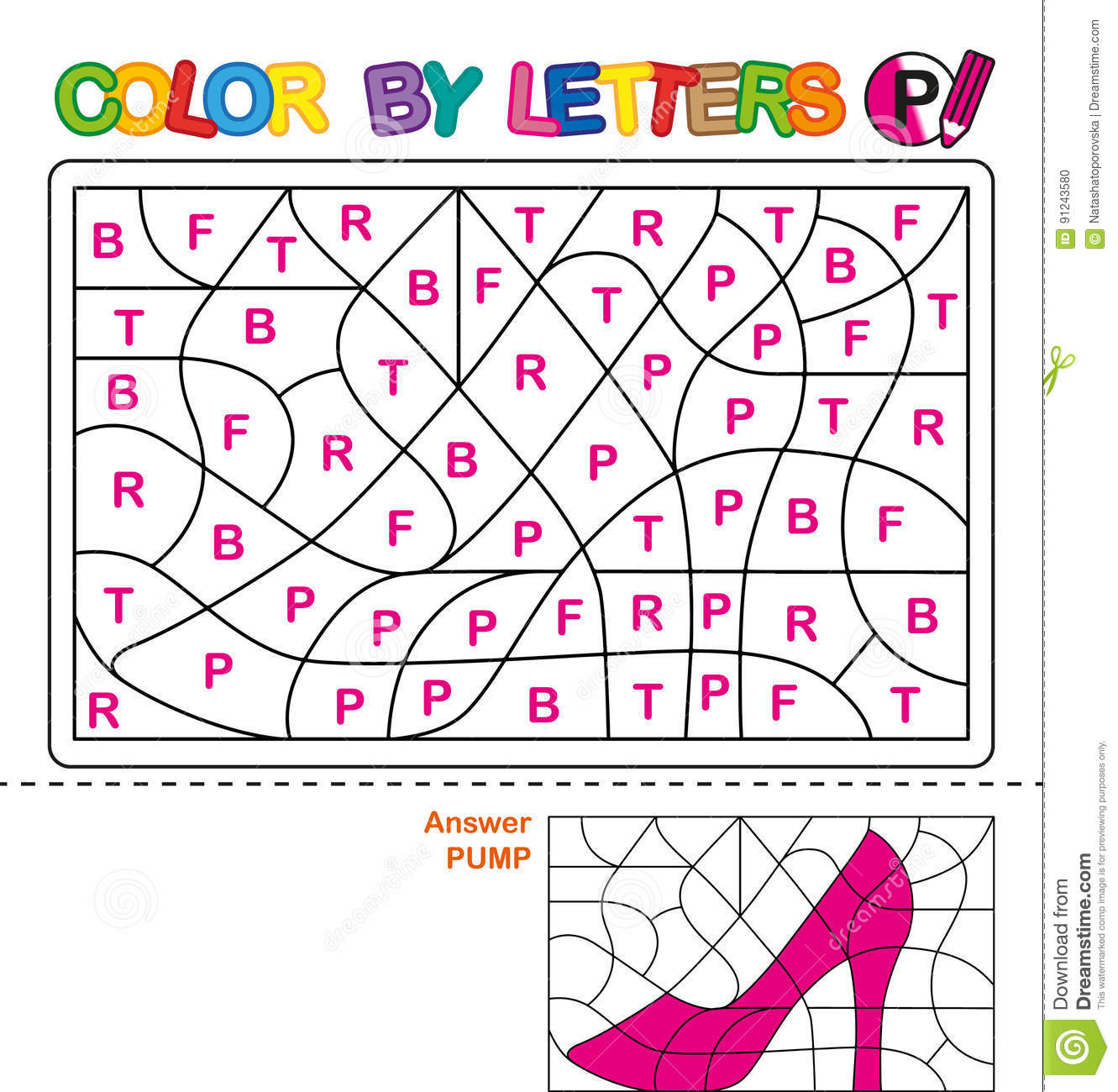 Color by letters. Learning the capital letters of the alphabet. Puzzle for children. Letter P. Pumps. Preschool Education.