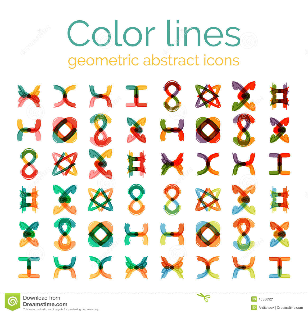 Color Line Design : Color line design abstract icons collection stock vector