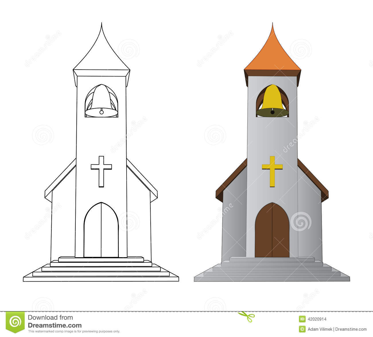 Color In And Line Drawing Church With Bell Vector Stock Vector ...
