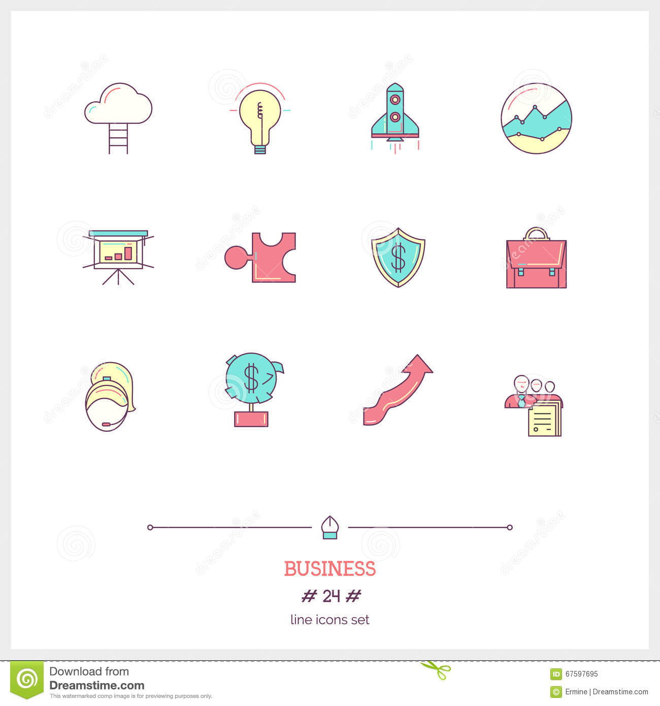Cymk Puzzle Business Objects Icon Set Vector Illustration