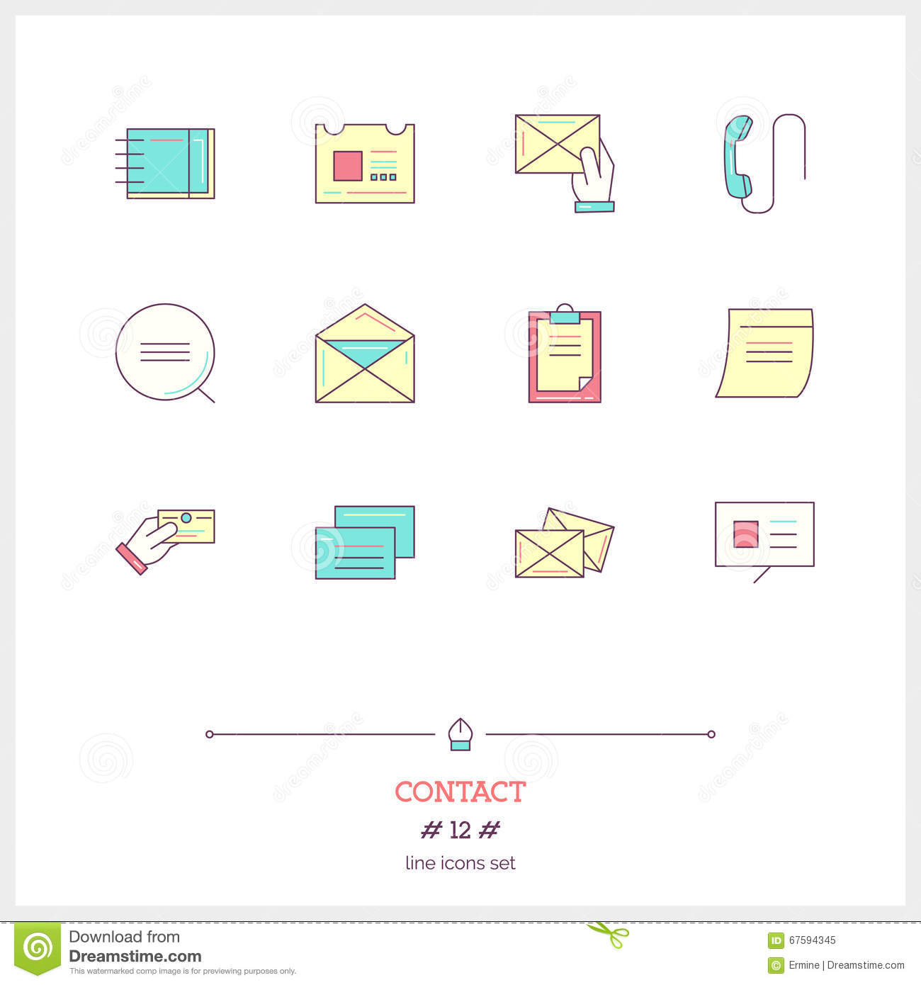 Line Color Form : Color line icon set of contact form information objects