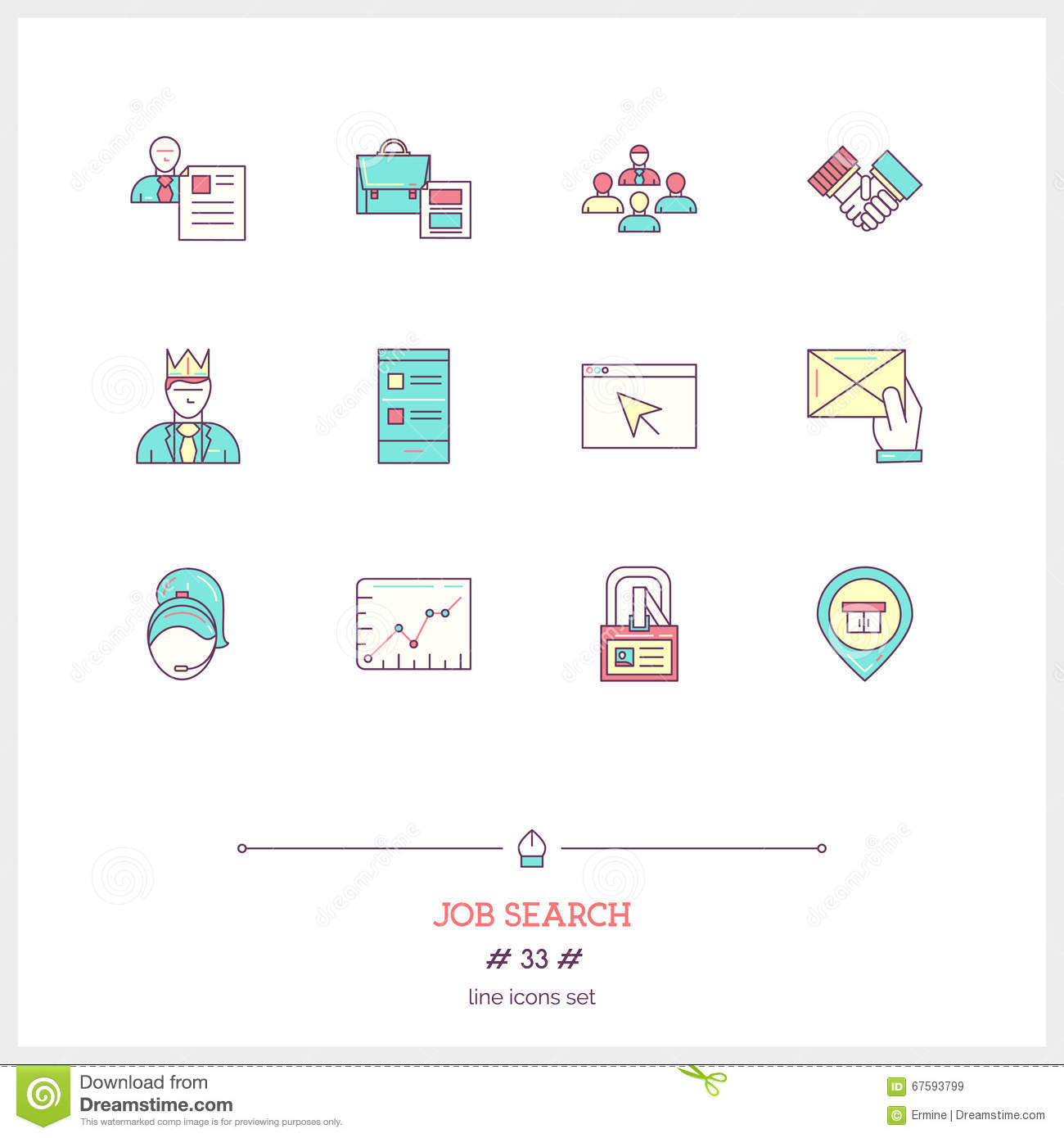 color line icon set of job search and human resources objects t color line icon set of job search and human resources objects t illustration 67593799 megapixl