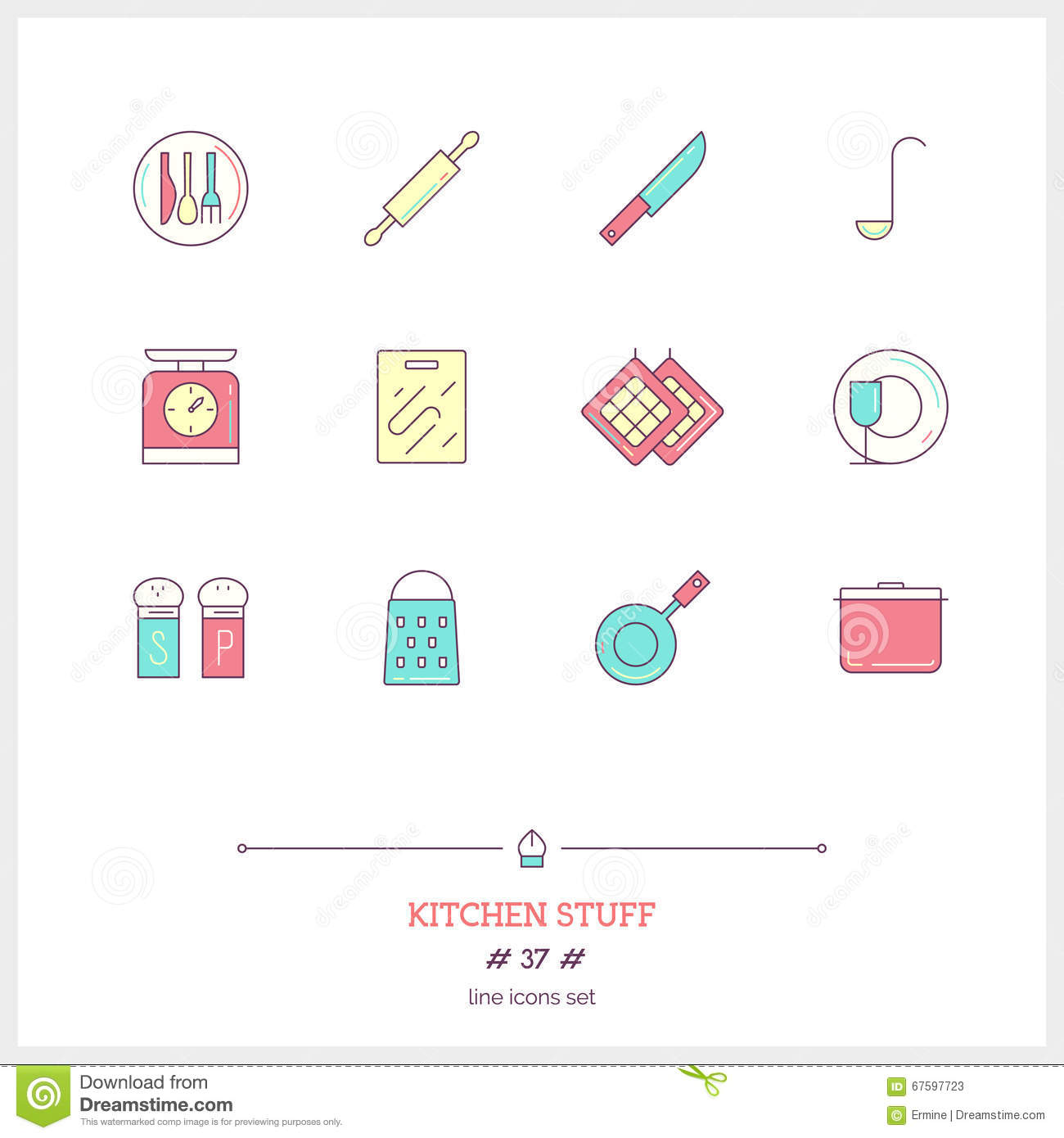 color line icon set of kitchen stuff objects logo icons stock