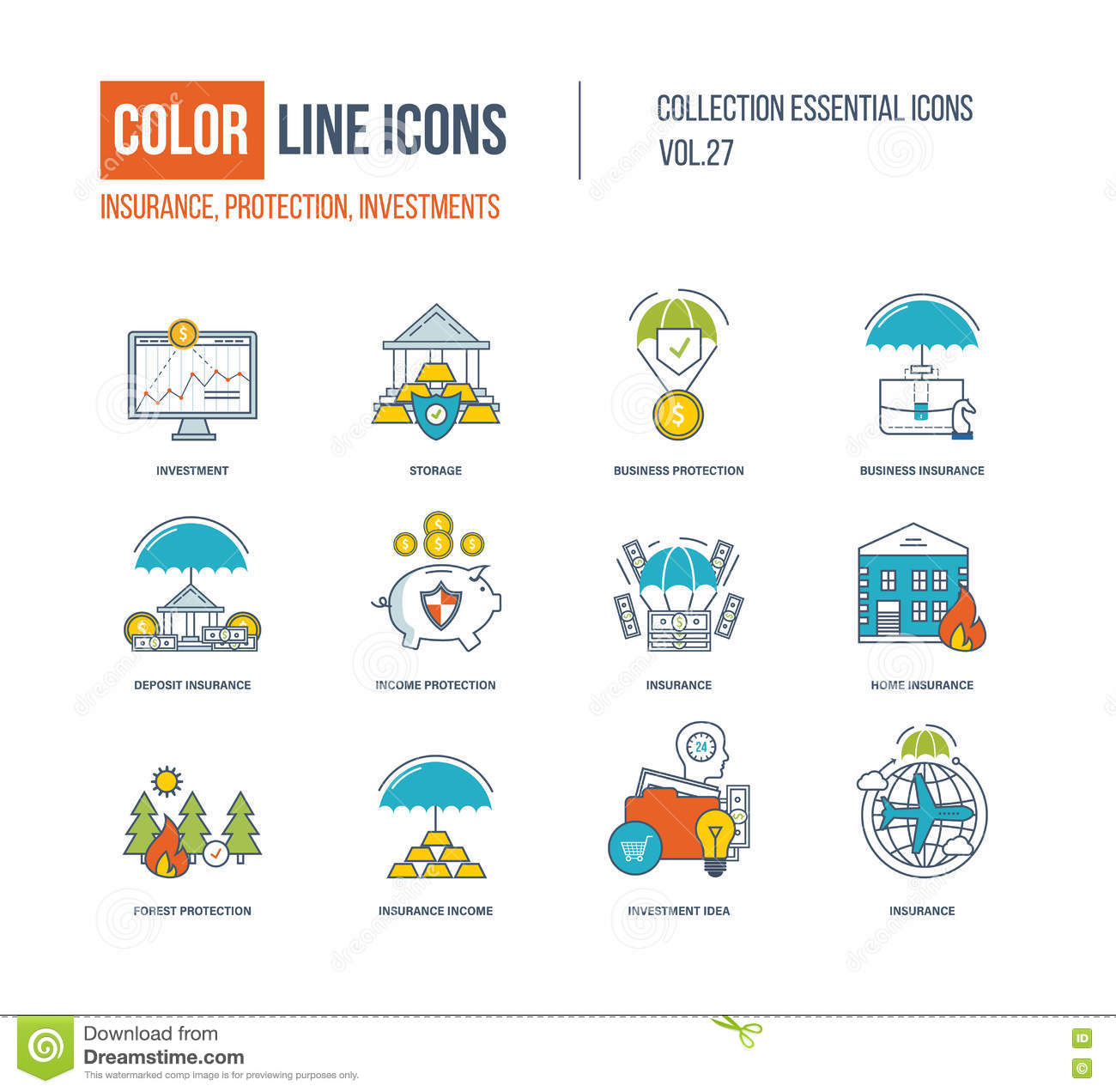 Color Line Icons Collection. Stock Vector - Illustration of life ...