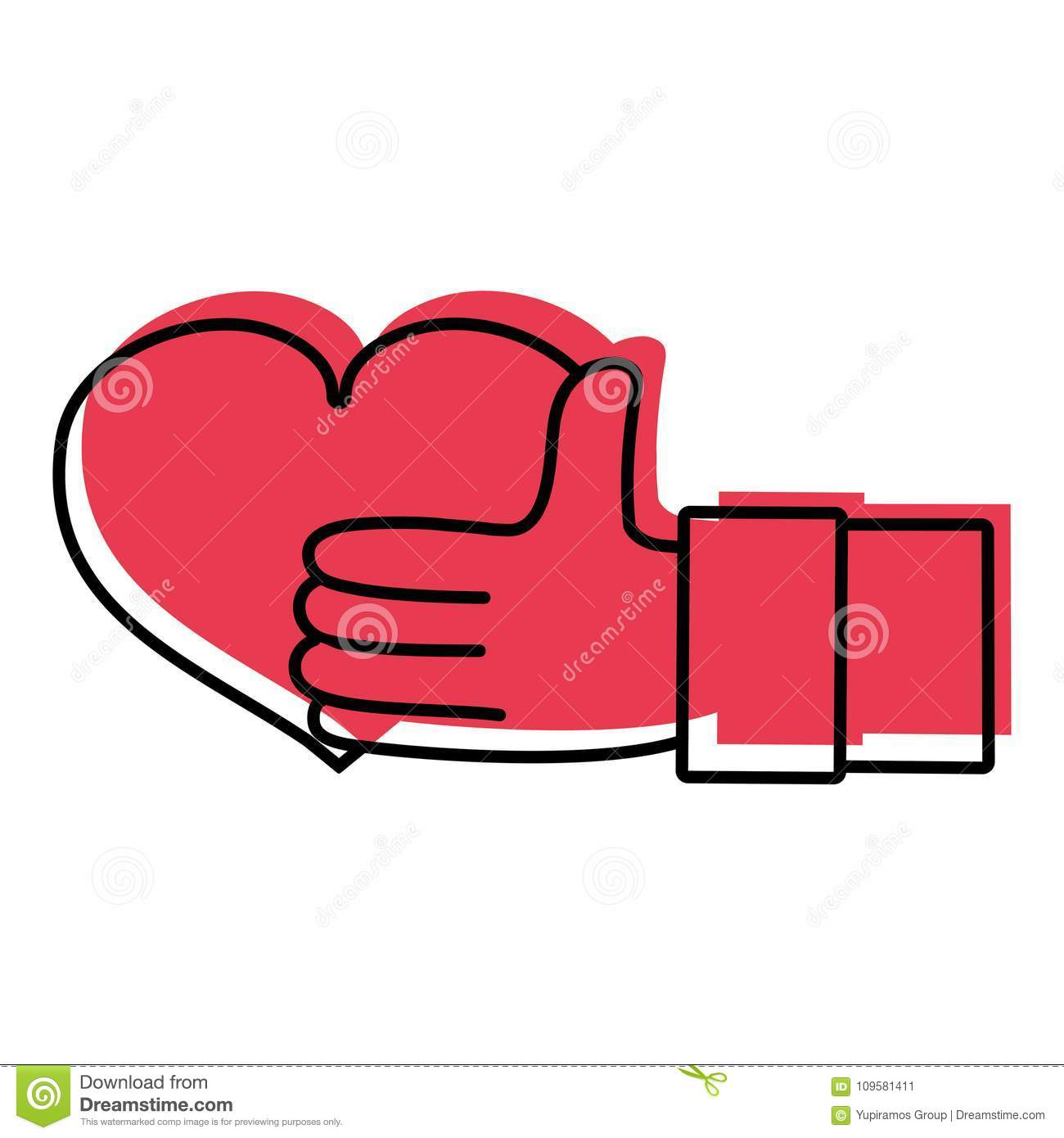 Color Man Hand With Heart Love Symbol Of Passion Stock Vector