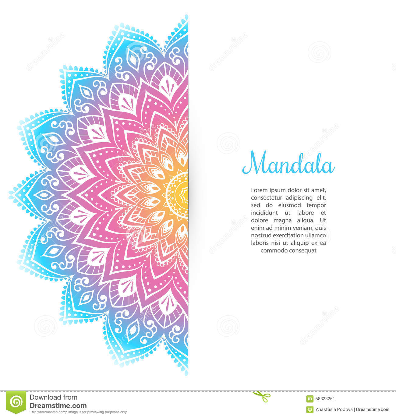 Color Mandala Background Template Stock Vector - Image: 58323261