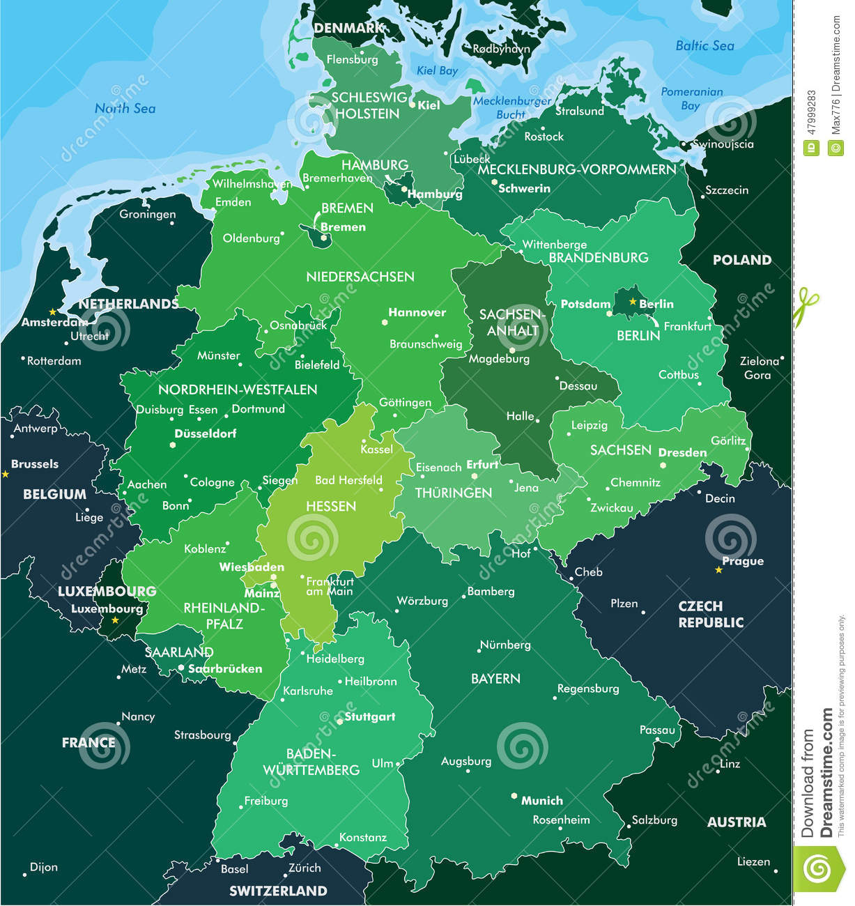 Color map of Germany stock vector. Illustration of globe ...