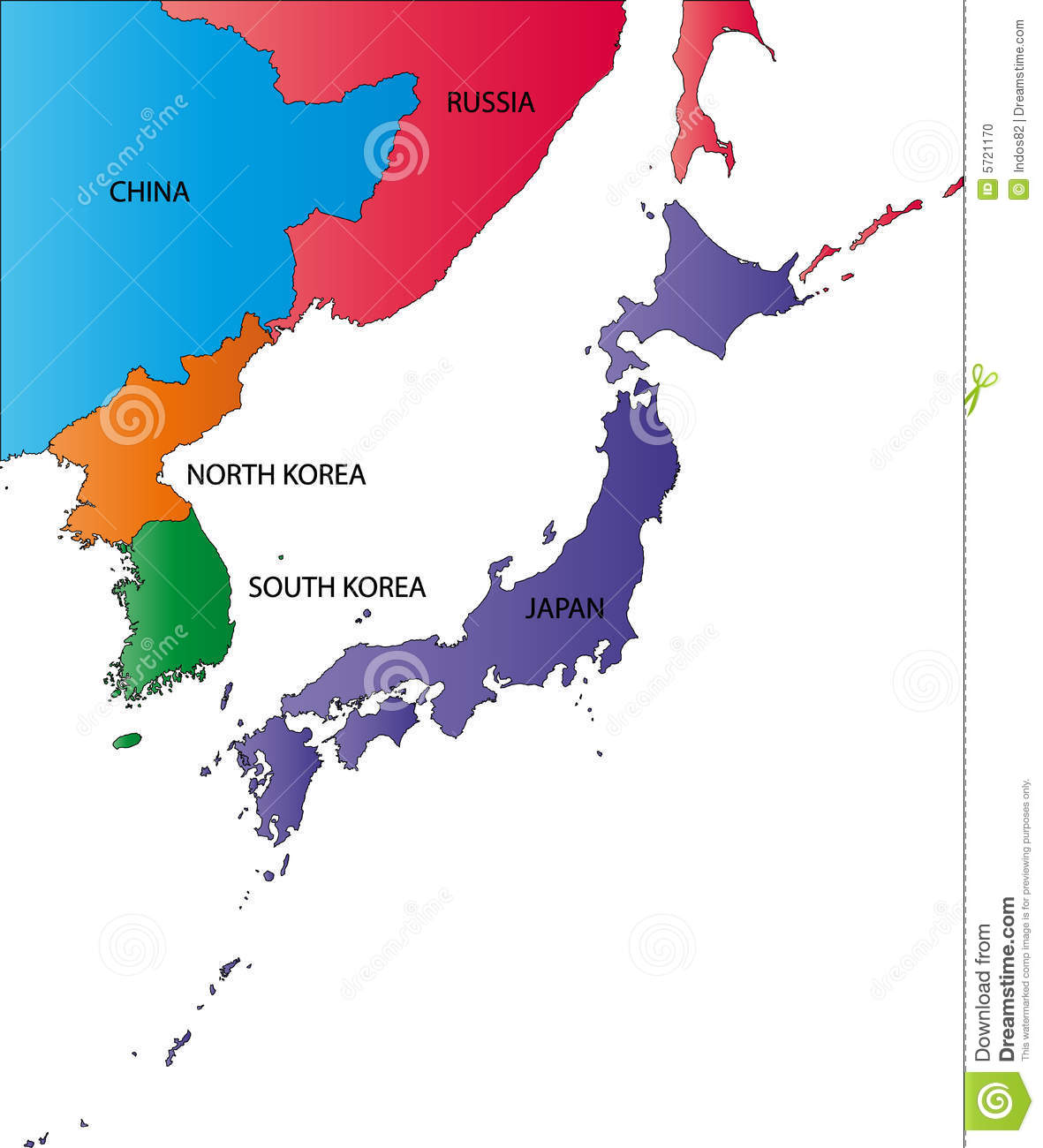 Color Map Of Japan Stock Photo Image - Japan map korea