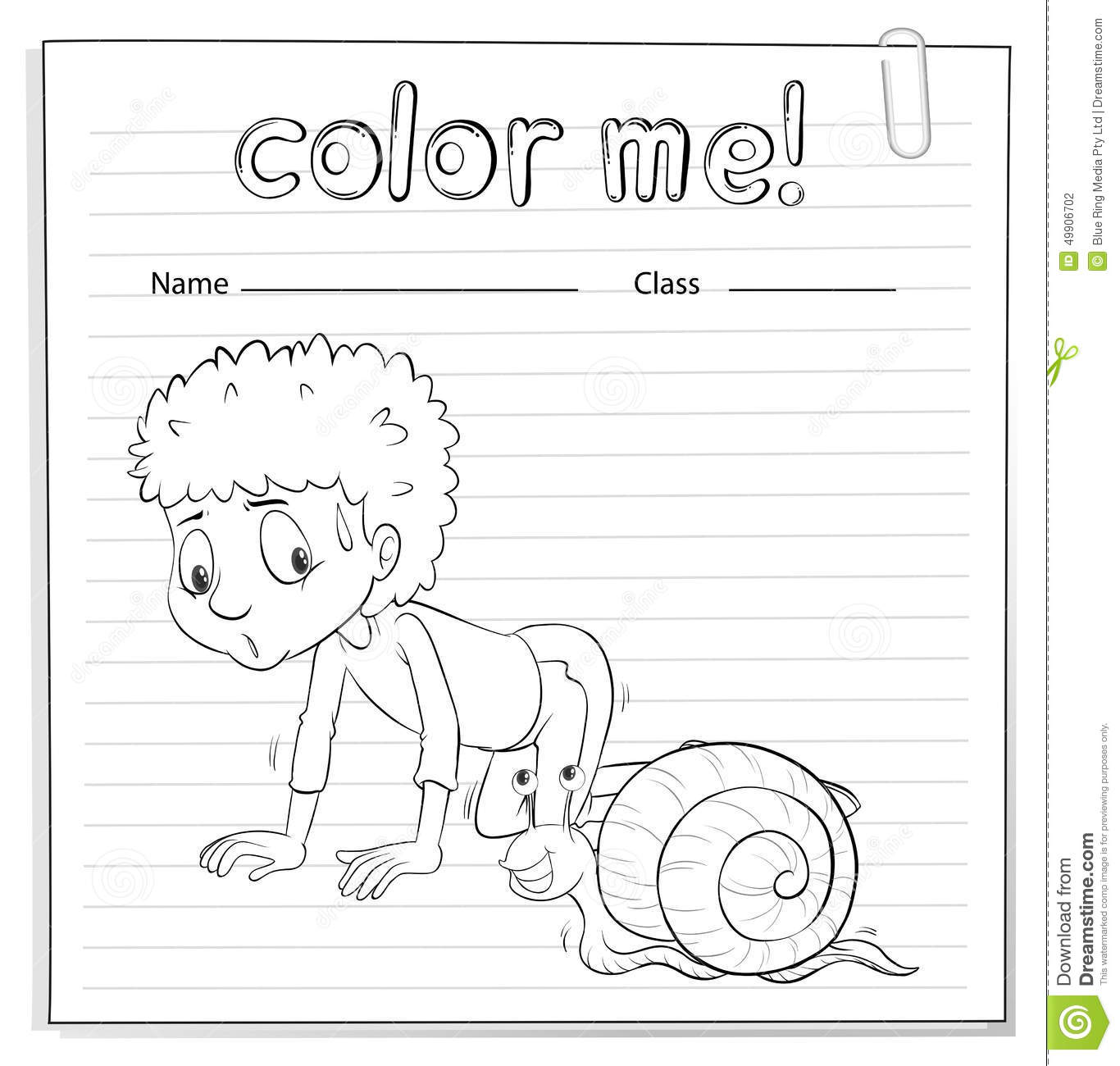 a color me worksheet with a kid and a snail stock vector image 49906702. Black Bedroom Furniture Sets. Home Design Ideas