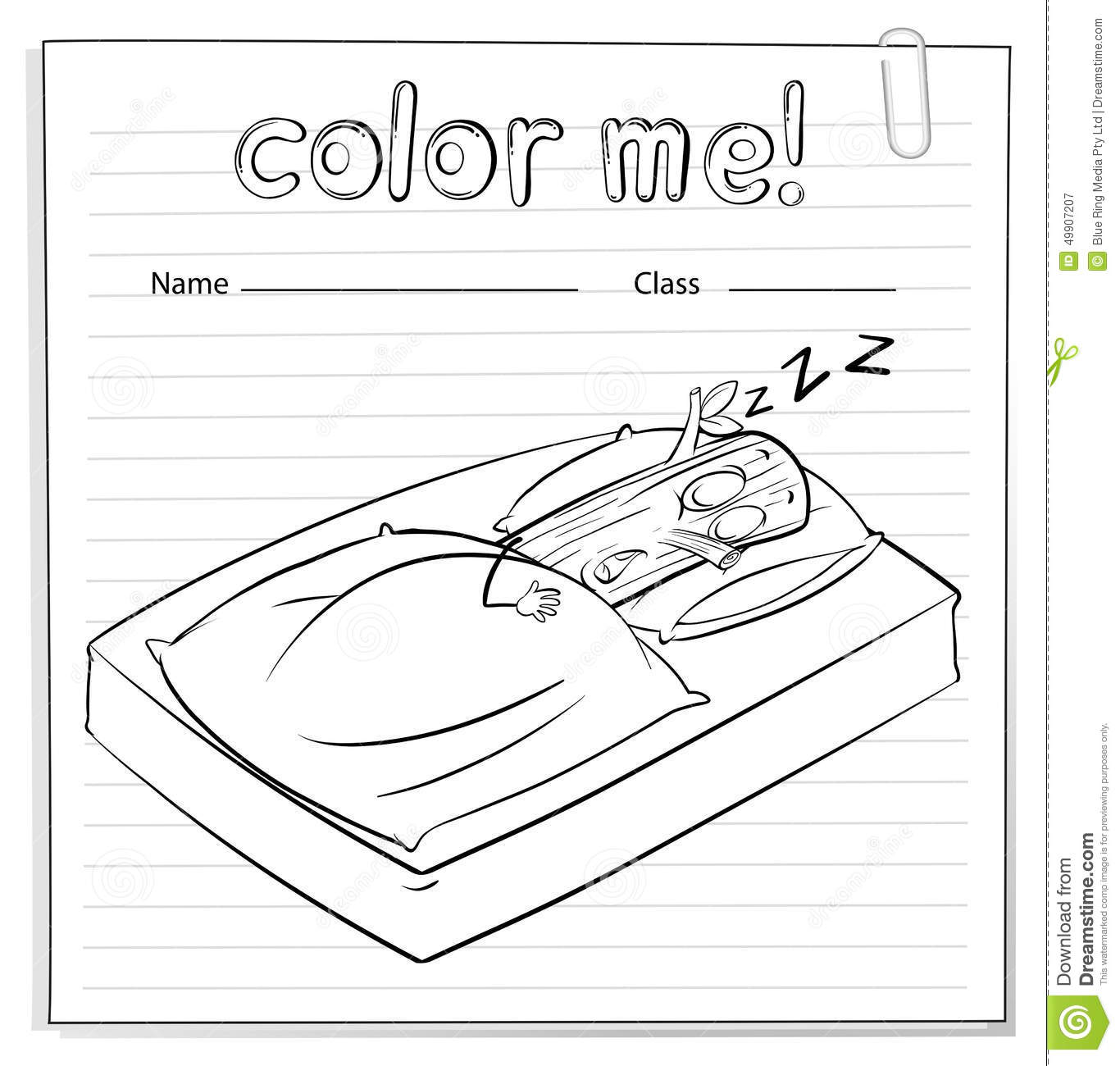 A Color Me Worksheet With A Log Sleeping Vector Image – Log Worksheet