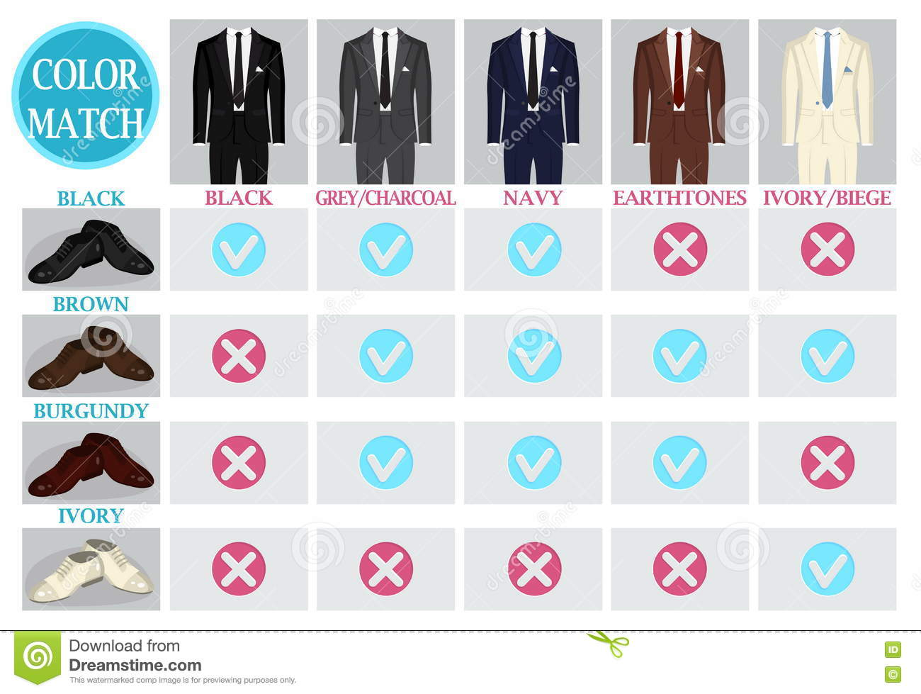 1c87aefec Color Mix Match Guide For Shoes And Suit Stock Vector - Illustration ...