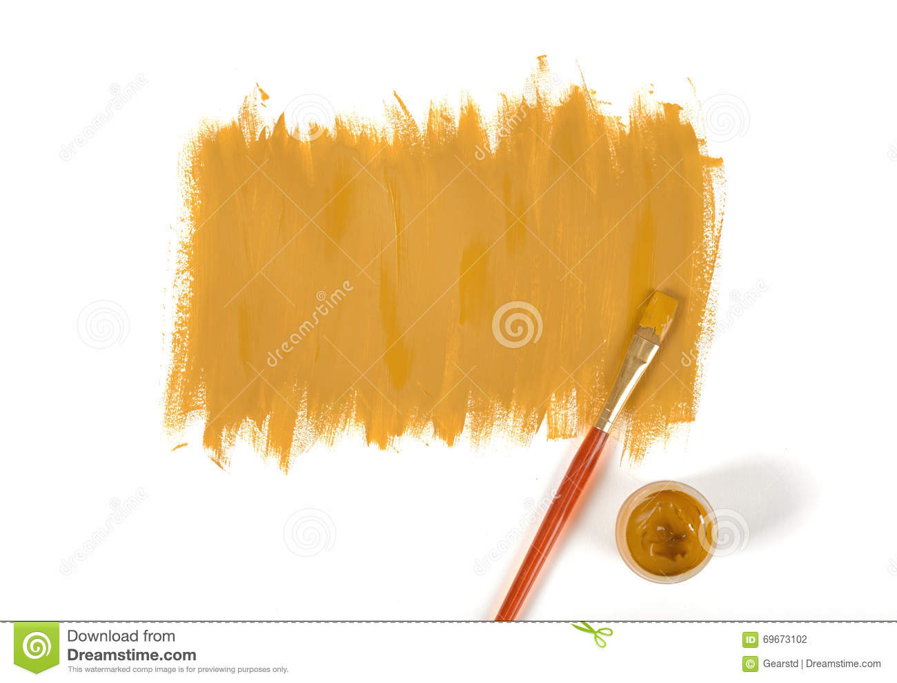 Color Of Mustard Hand-painted Daub With Paint Brush And