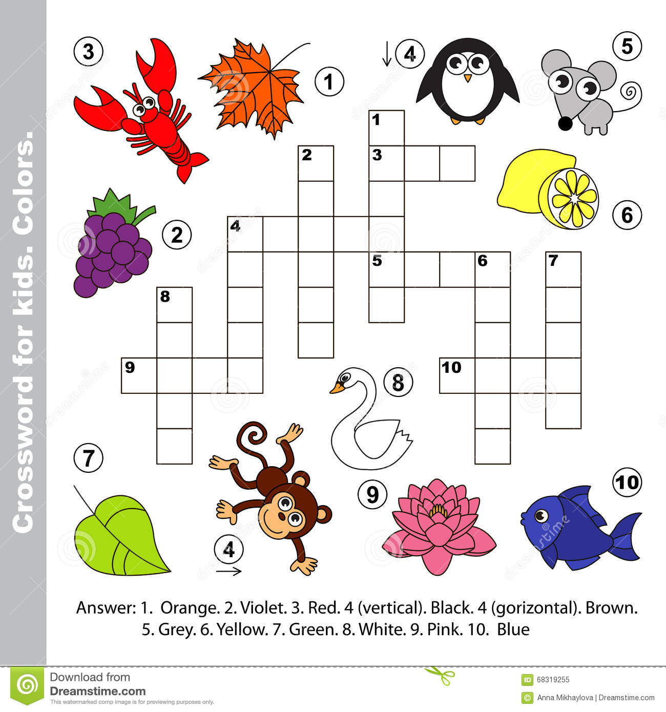 Color Names. Crossword For Kids. Stock Vector - Image ...