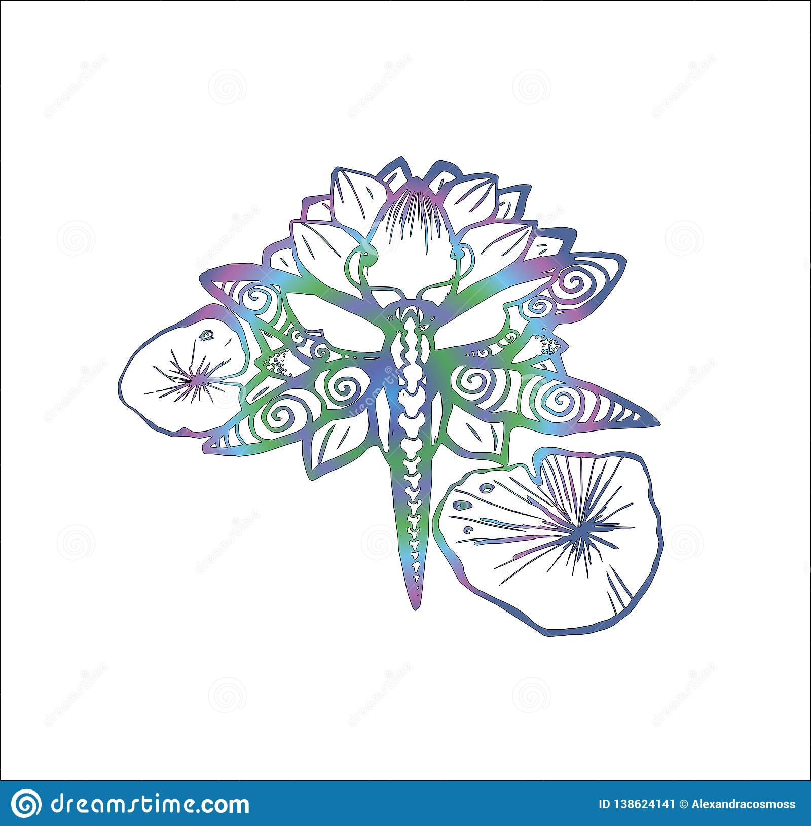 Color Neon Illustration Of A Dragonfly On A Lotus Tattoo Idea