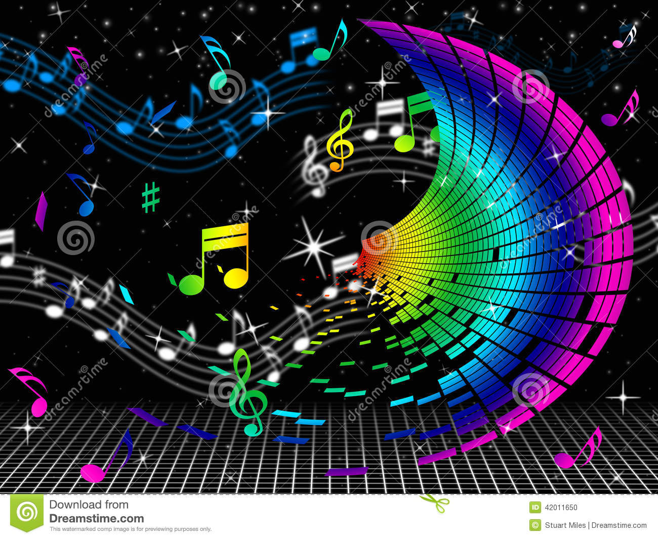 color notes means sheet music and audio stock illustration