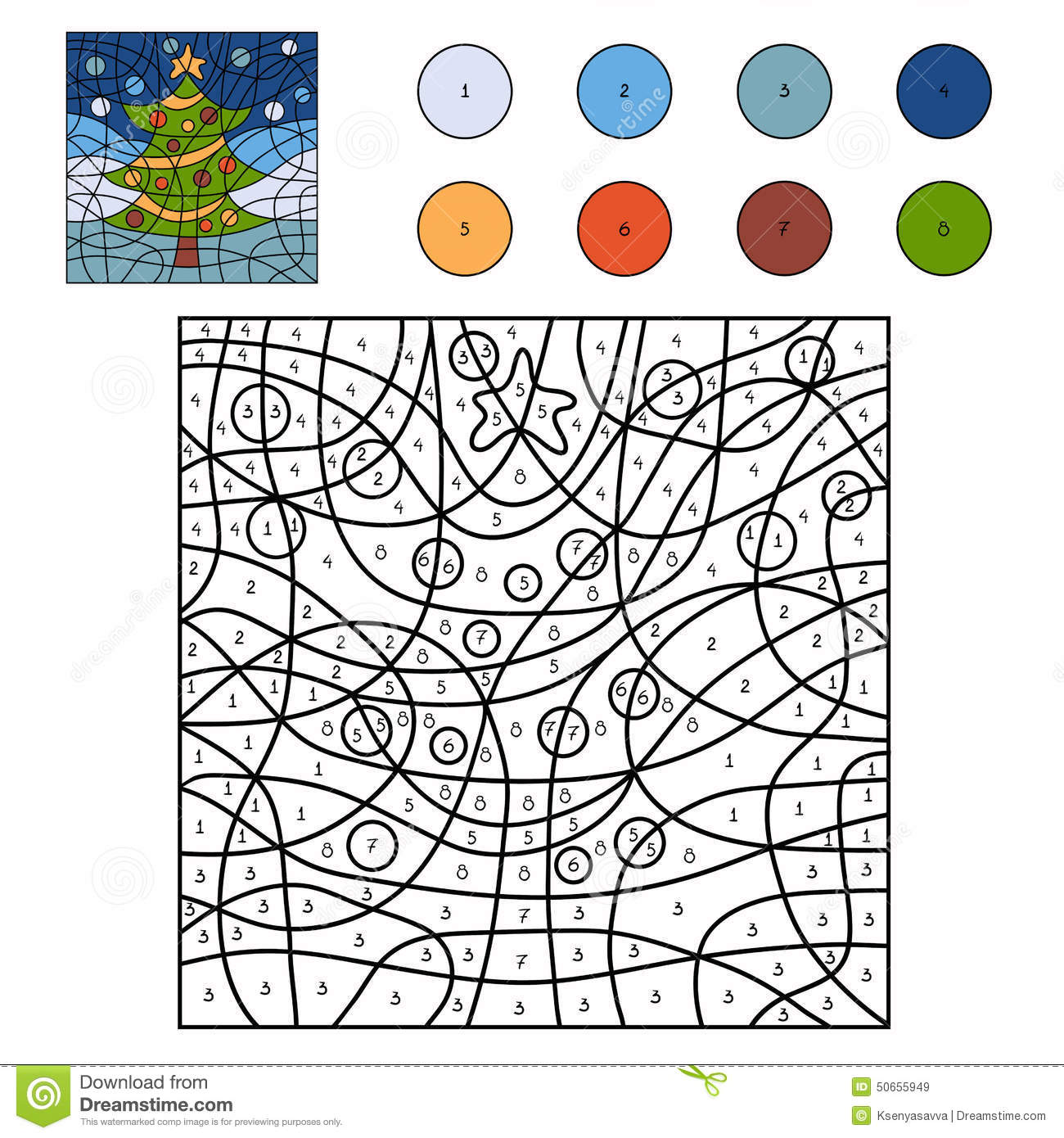 Colour By Number Christmas Tree : Color by number christmas tree stock vector image