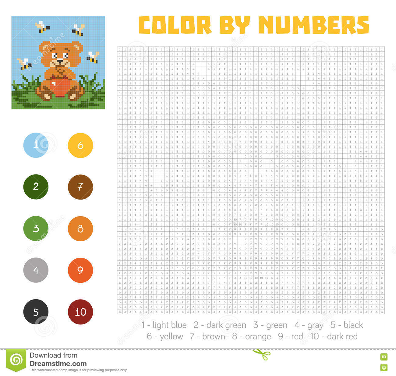 Game color squares - Color By Number Education Game With Bear