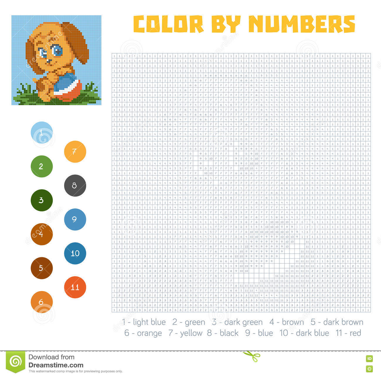 Game color squares - Color By Number Education Game With Dog