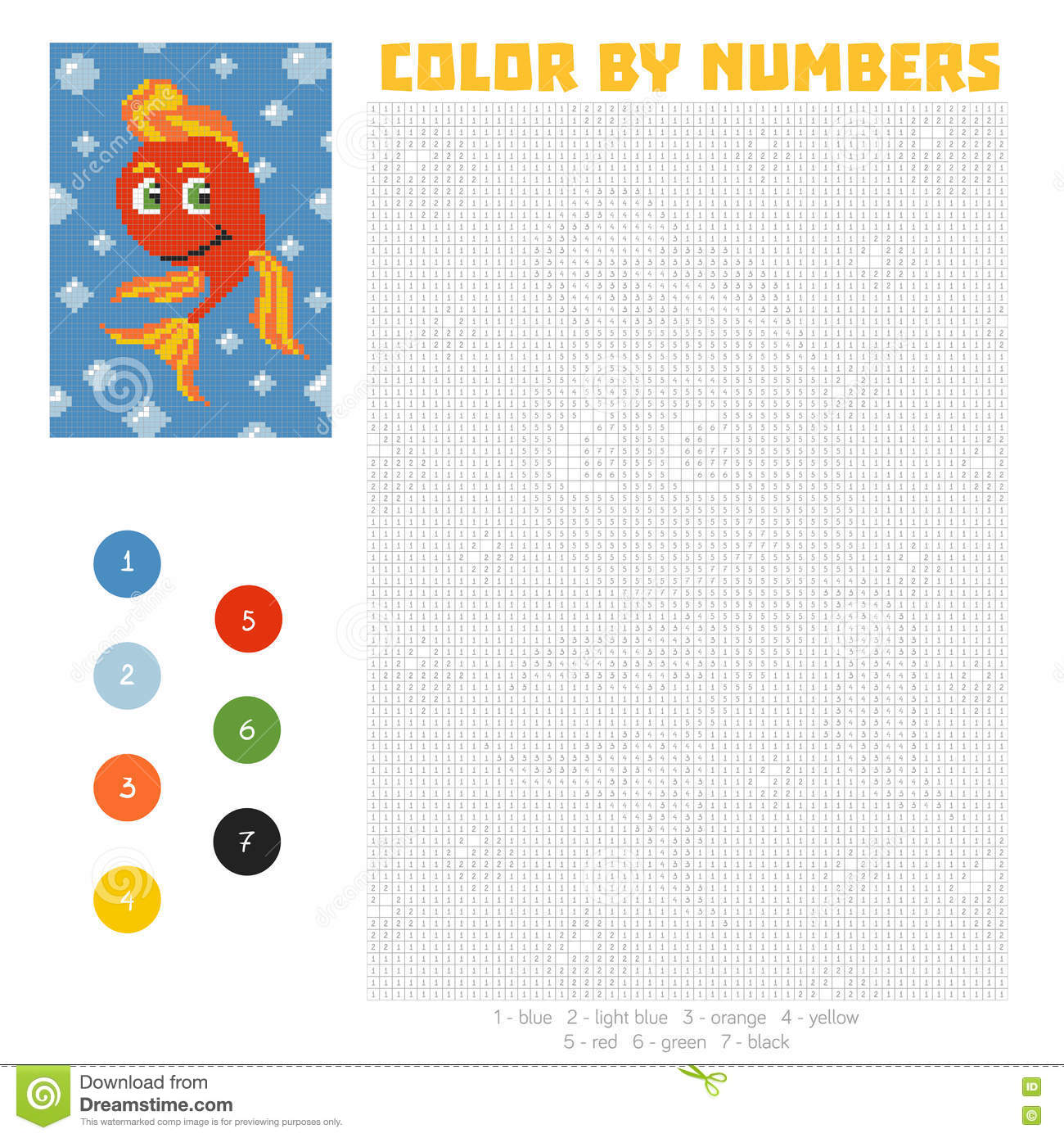 color by number education game with fish royalty free stock photos