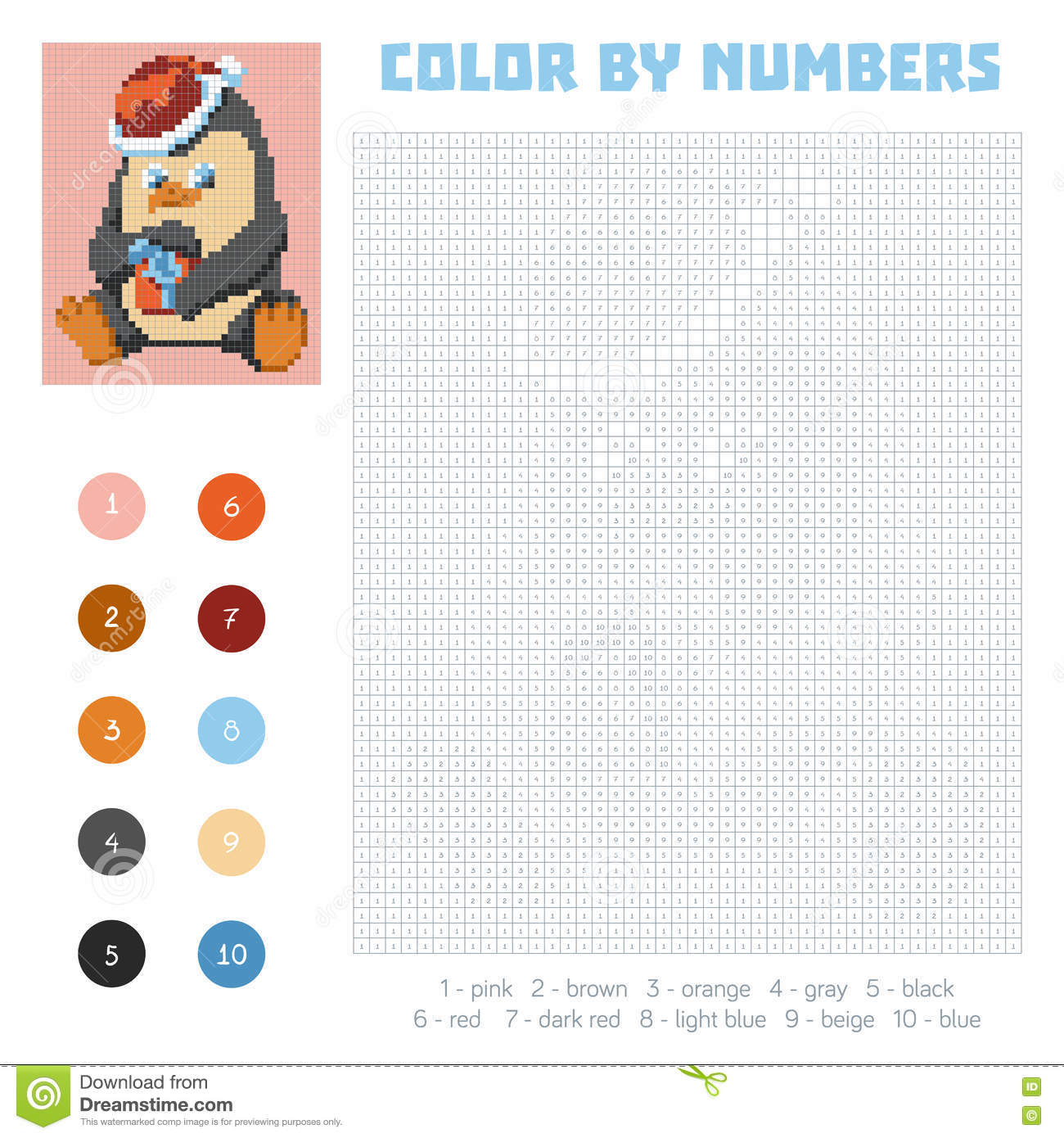 Game color squares - Color By Number Education Game With Penguin