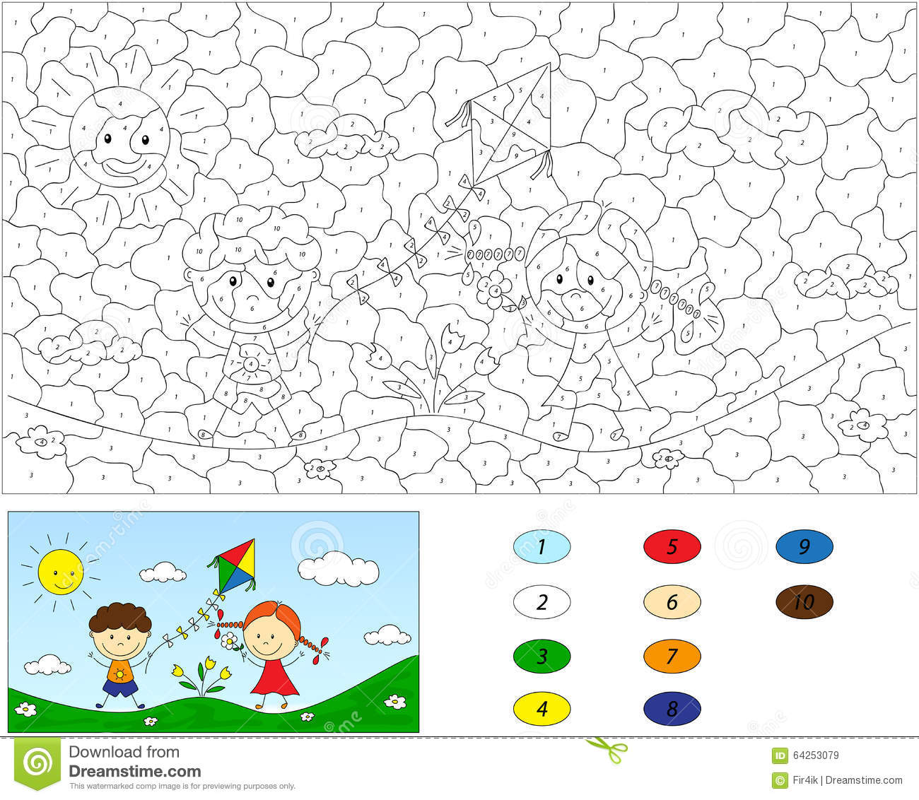 color by number educational game for kids a boy and a play