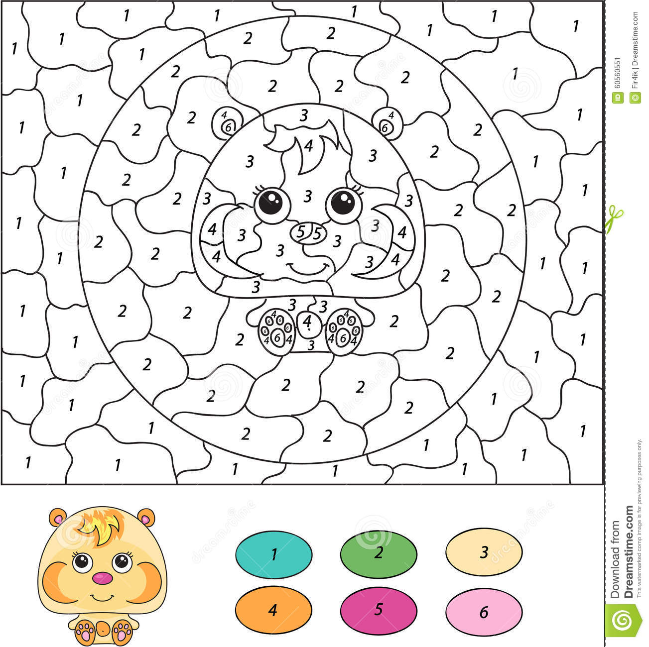 Uncategorized Color By Number Kids color by number educational game for kids cartoon hamster stock hamster