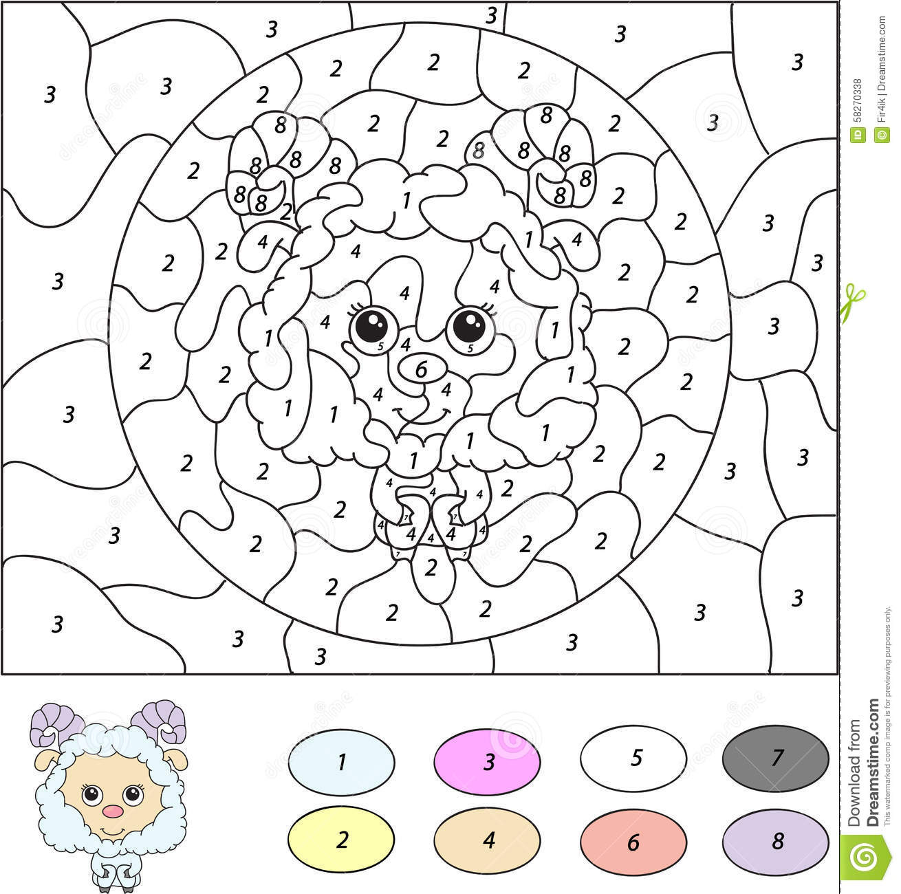 Uncategorized Color By Number Games color by number educational game for kids cute lamb ram sheep sheep